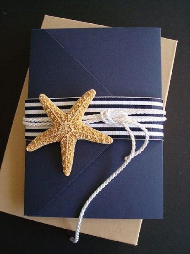 Convite azul com estrela-do-mar