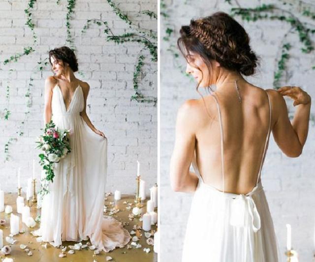 Frente e costas do vestido