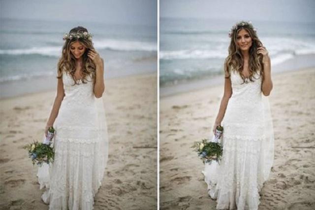 Vestido branco e coroa de flores