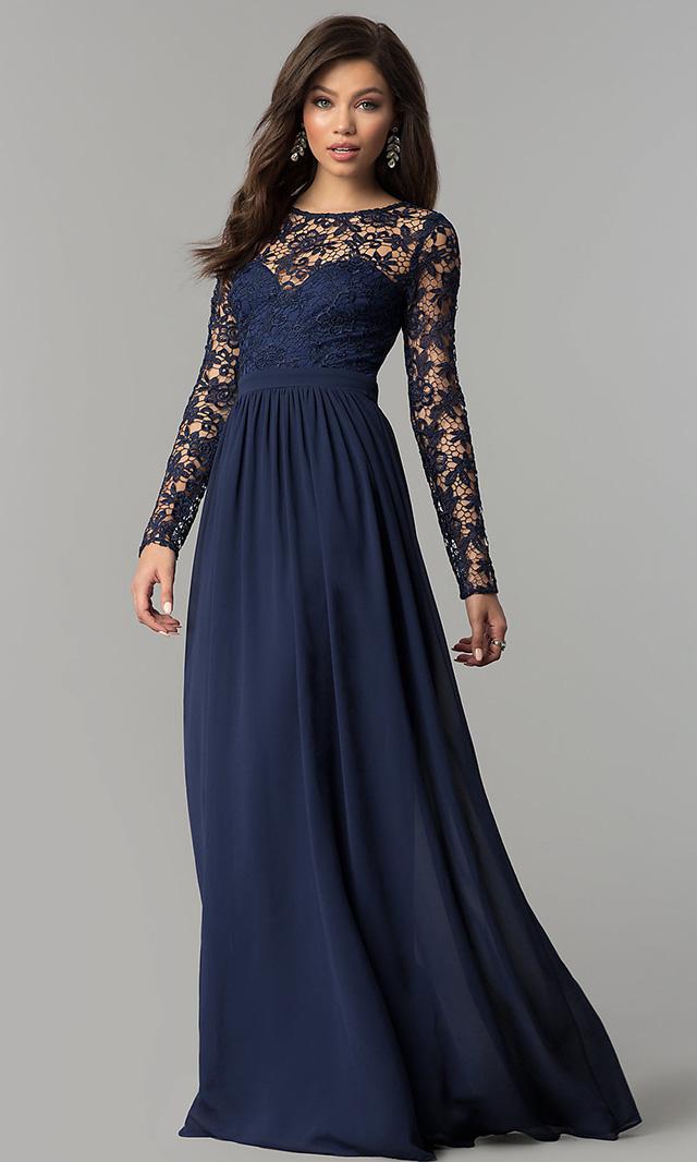 Vestido longo azul marinho